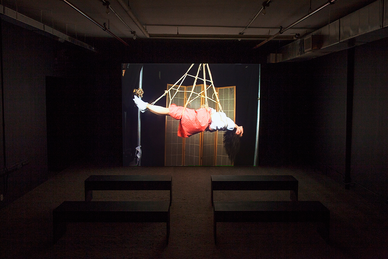 """Installation view, 'Hito Steyerl' at Artists Space, 2015, showing """"Lovely Andrea"""" (2007), digital video with sound, 30 mins (courtesy the artist) (click to enlarge)"""