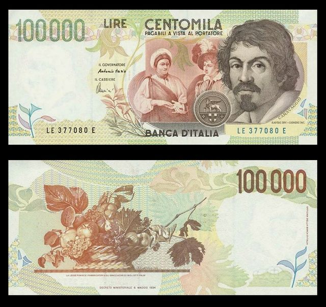 The 100,000 Lira, featuring Caravaggio, via Wikipedia