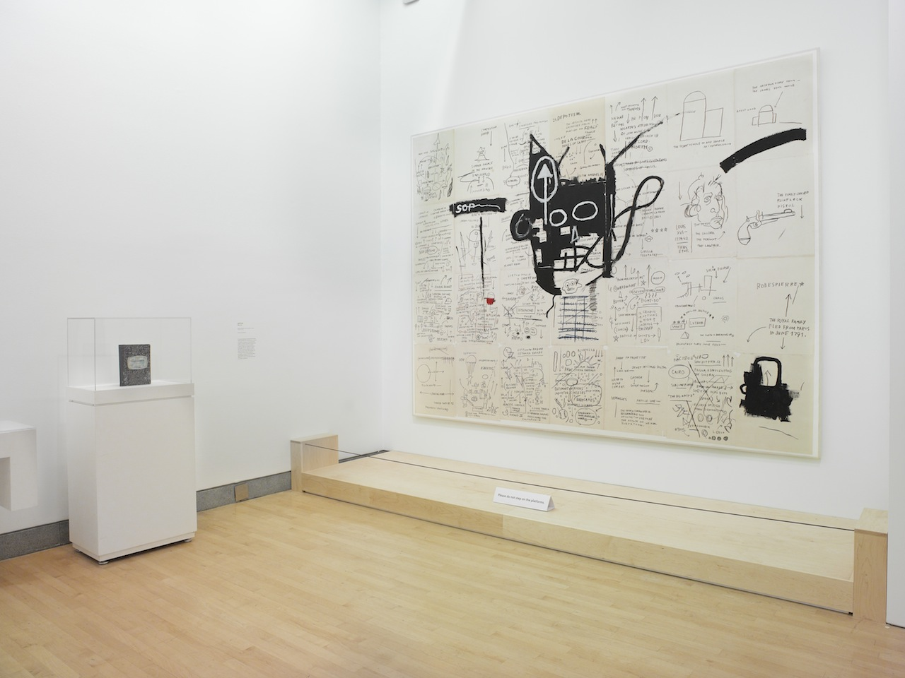 Installation view, 'Basquiat: The Unknown Notebooks' at the Brooklyn Museum (photo by Jonathan Dorado, courtesy the Brooklyn Museum