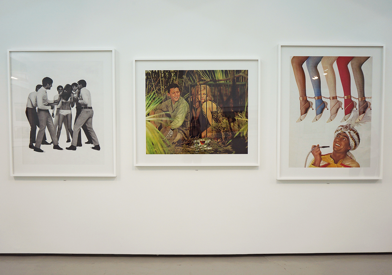 Installation view of 'Unbranded,' with images from 1965–67 from right to left