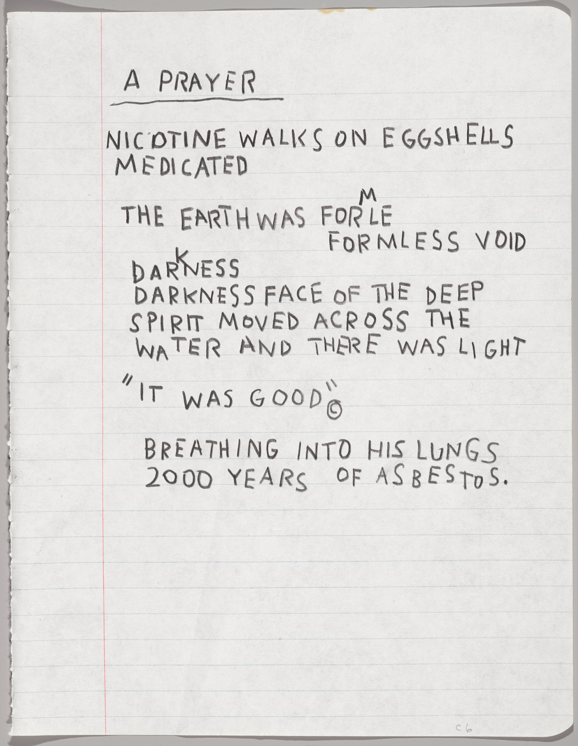 Jean-Michel Basquiat, Untitled Notebook Page (c. 1987), wax crayon on ruled notebook paper, 9 5/8 x 7 5/8 in (24.5 x 19.4 cm), collection of Larry Warsh (photo by Sarah DeSantis, Brooklyn Museum, © Estate of Jean-Michel Basquiat, all rights reserved, licensed by Artestar, New York)