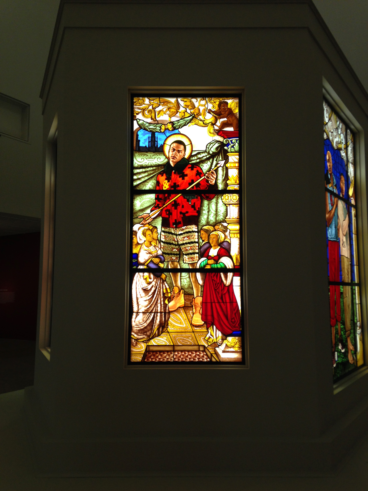 "Kehinde Wiley, ""Saint Ursula and the Virgin Martyrs"" (2014), stained glass (photo by Jillian Steinhauer/Hyperallergic) (click to enlarge)"