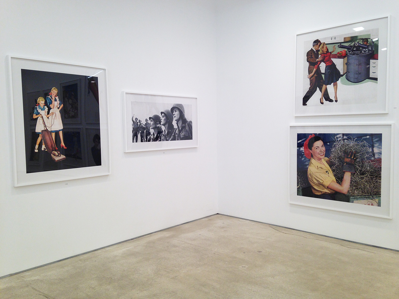 Installation view of 'Unbranded' showing, clockwise from top right, works for 1943–46 (click to enlarge)