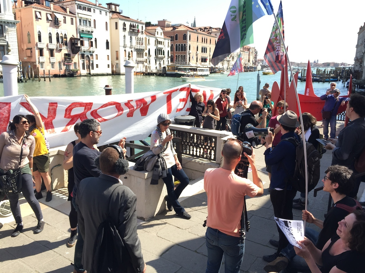 Protesters outside the Peggy Guggenheim Collection