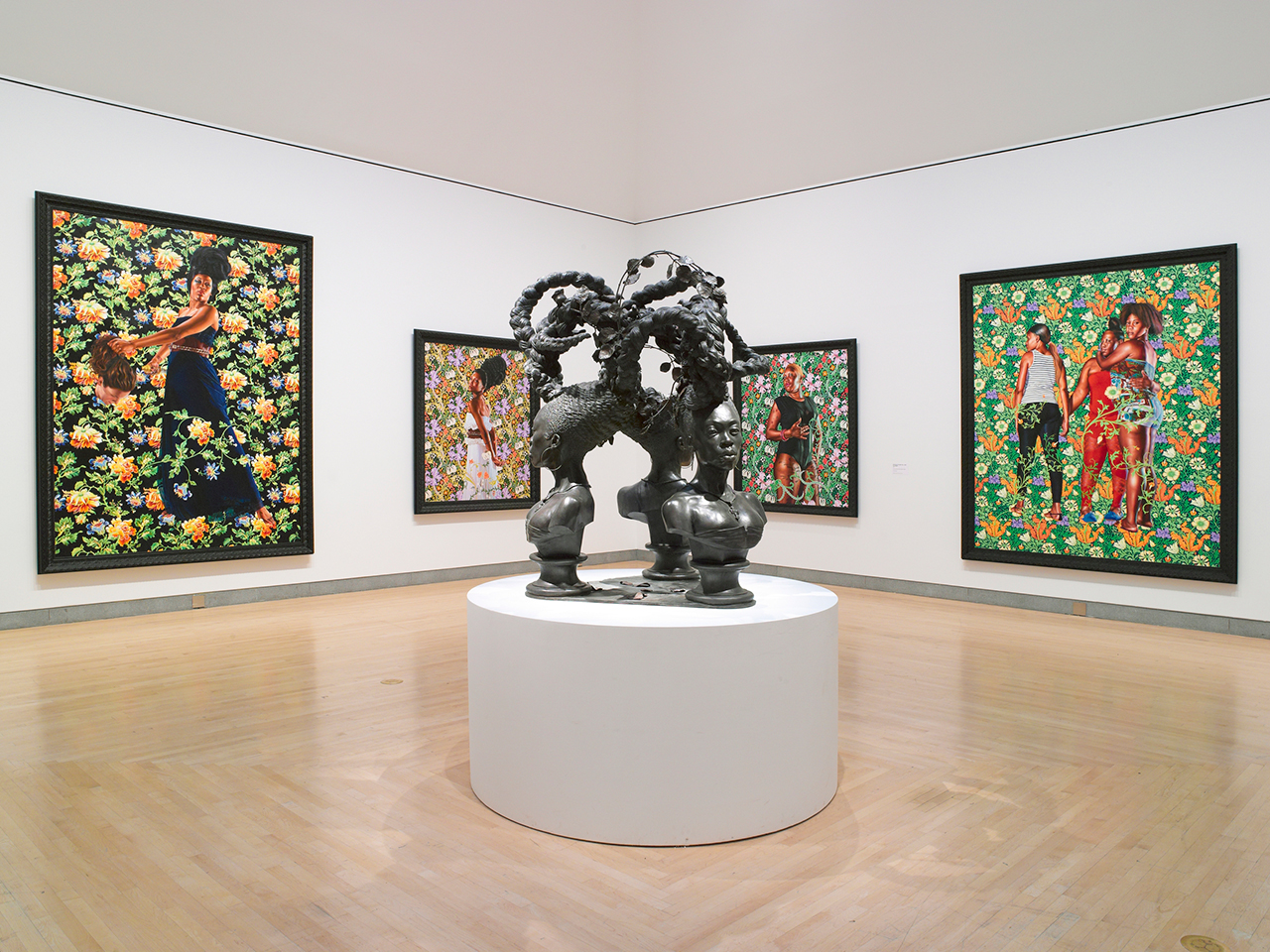 "Installation view, 'Kehinde Wiley: A New Republic' at the Brooklyn Museum, with ""Bound"" (2014) in the center (photo by Jonathan Dorado, courtesy Brooklyn Museum)"