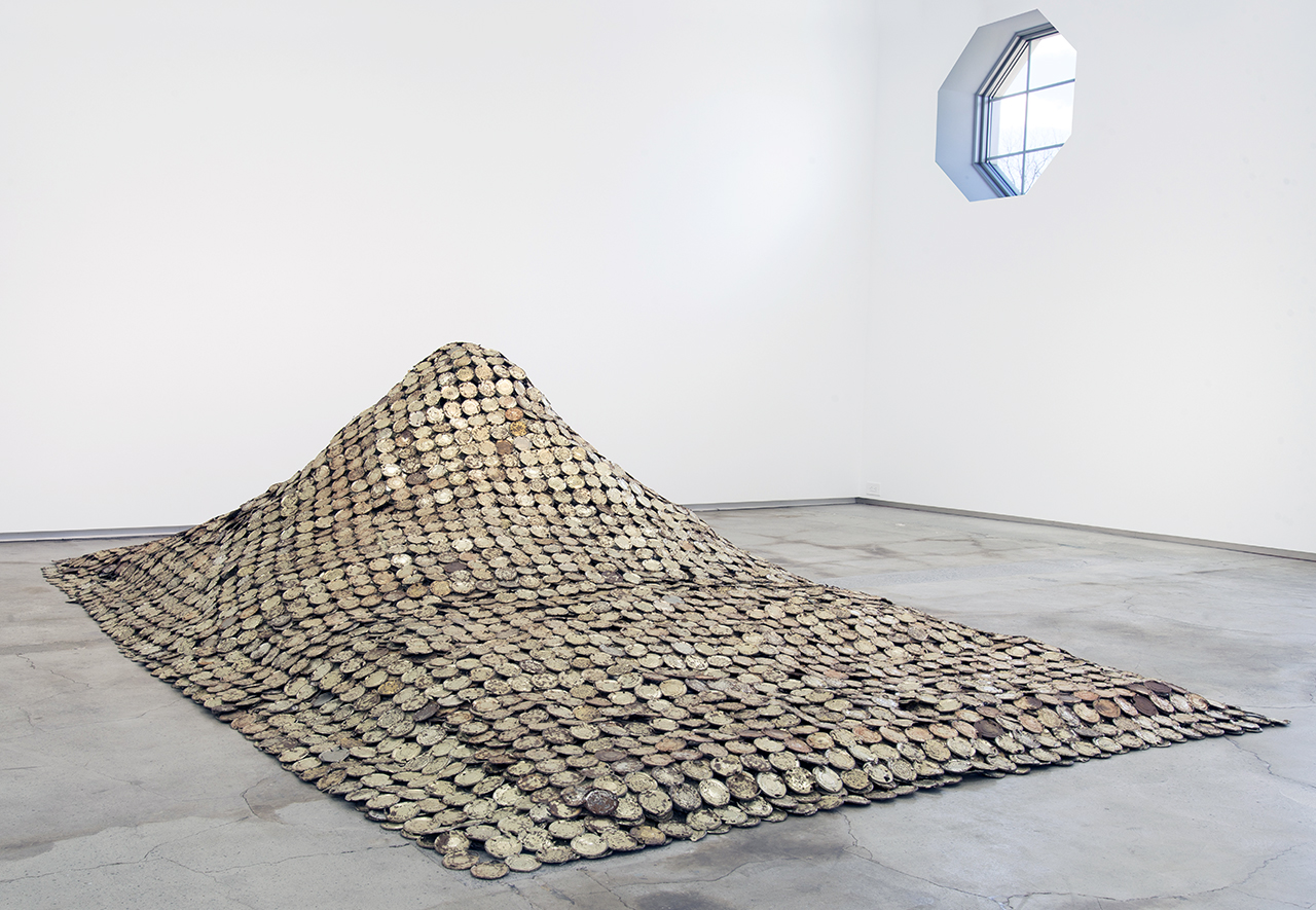 """Installation view of El Anatsui's """"Peak Project"""" (1999) at The School (click to enlarge)"""