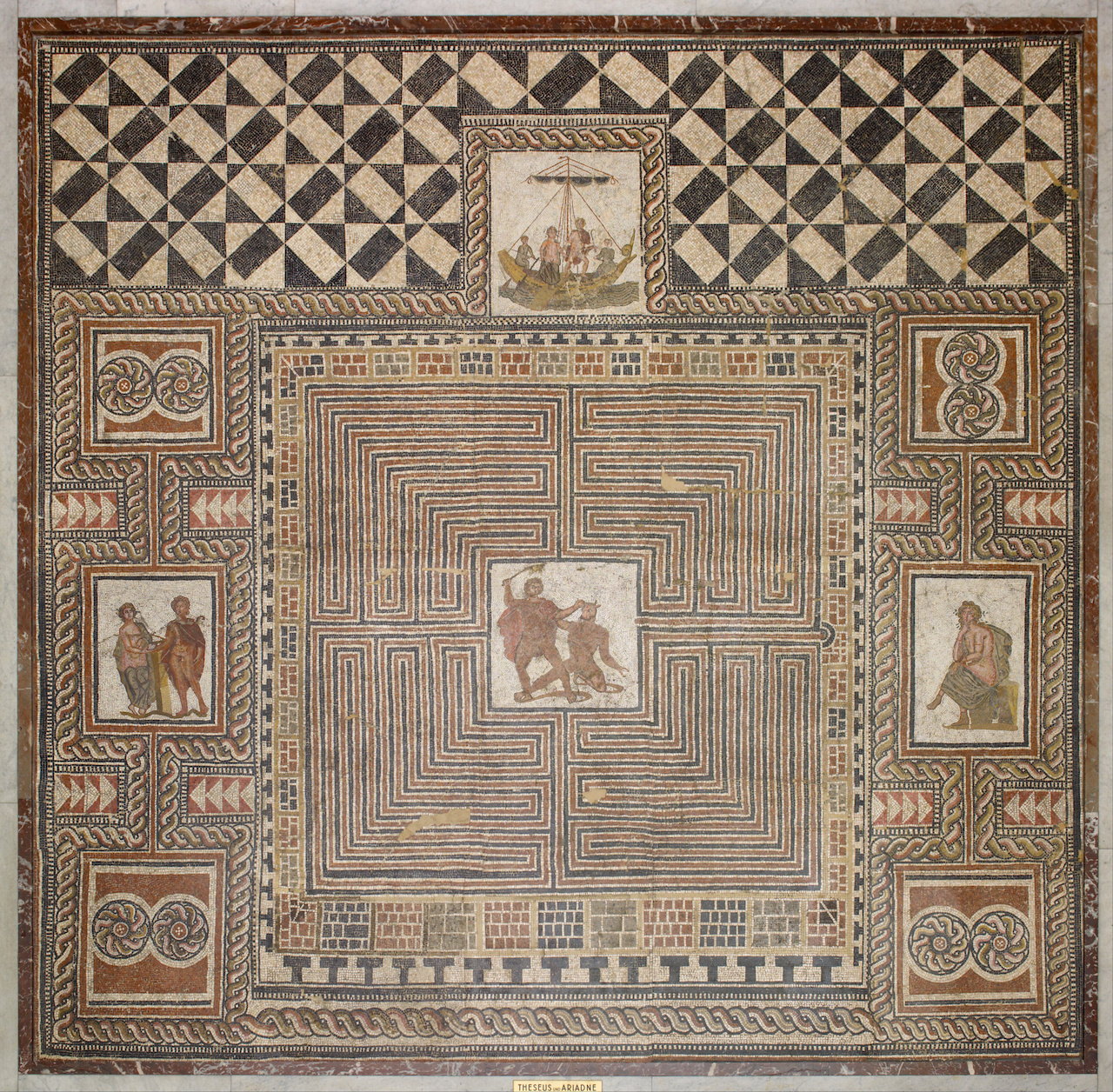 """Artist Unknown, """"Theseus Mosaic"""" (300AD-400AD) Kunsthistorisches Museum, Vienna (public domain, image courtesy of Wikimedia Commons)"""