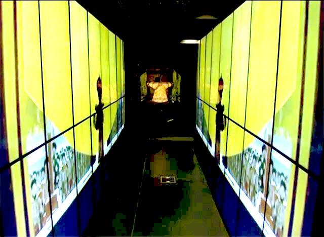 "Video tunnel, clips from  Bernardo Bertolucci, ""The Last Emperor"" (1987) courtesy Metropolitan Museum of Art"