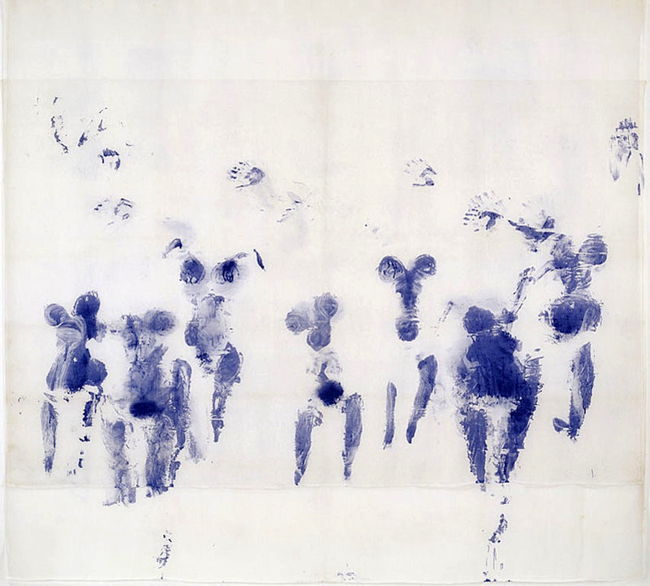 """Yves Klein, """"Suaire de Mondo Cane (Mondo Cane Shroud)"""" (1961) Dry pigment and synthetic resin on  gauze Collection Walker Art Center; Gift of Alexander Bing, T. B. Walker Foundation, Art Center Acquisition  Fund, Professional Art Group I and II, Mrs. Helen Haseltine Plowden, Dr. Alfred Pasternak, Dr. Maclyn C.  Wade, by exchange, with additional funds from T. B. Walker Acquisition Fund, 2004; © 2010 Artists  Rights Society (ARS), New York/ADAGP, Paris"""