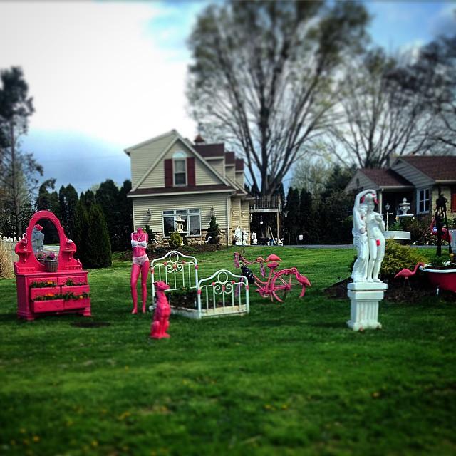 Tony Papadimitirou's lawn art installation (photo by C.E. Pontz Sons/Instagram)
