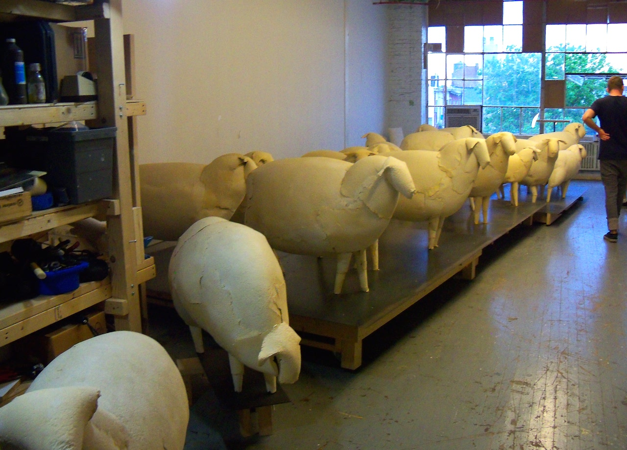 Paper sheep in the studio of artist Kyu Seok Oh at 56 Bogart Street during Bushwick Open Studios 2011 (photo by the author for Hyperallergic)