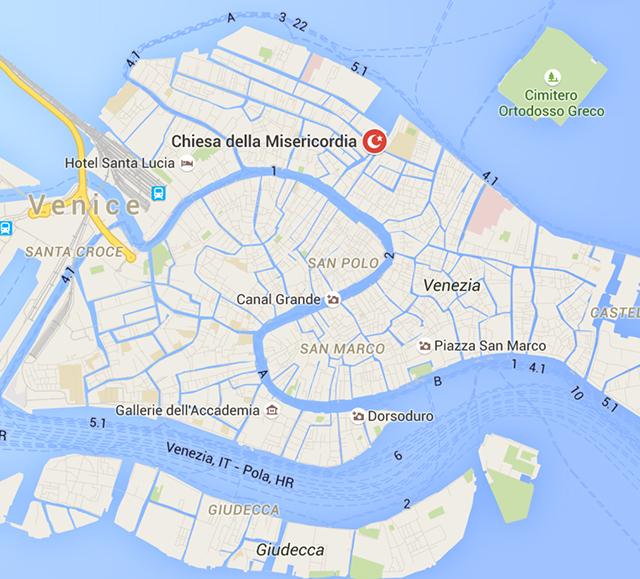 "The designation of the Icelandic Pavilion, according to Google Maps when you type ""mosque near Venezia, Italia"" (via Google Maps)"