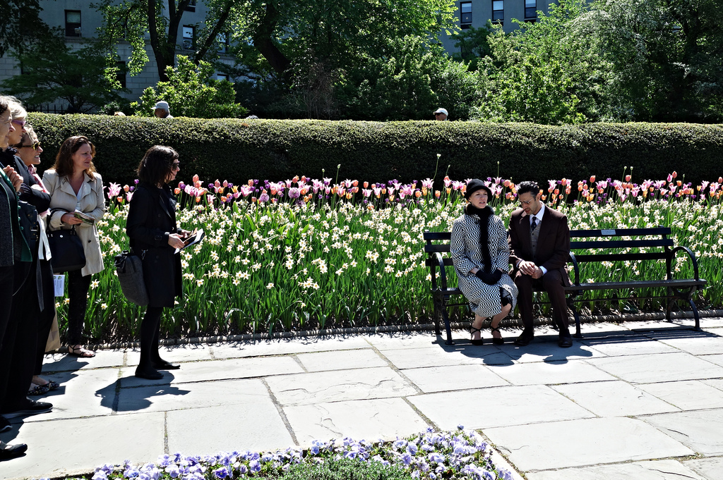 """David Levin, """"Private Moments,"""" with actors performing a scene from 'Bullets Over Broadway' in the Conservatory Garden"""
