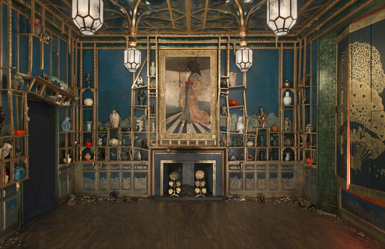 "Darren Waterston, ""Filthy Lucre"" (2013-14), alternate reality verison of James McNeill Whistler's Peacock Room where everything is wrecked (photo by John Tsantes, Freer and Sackler Galleries of Art)"