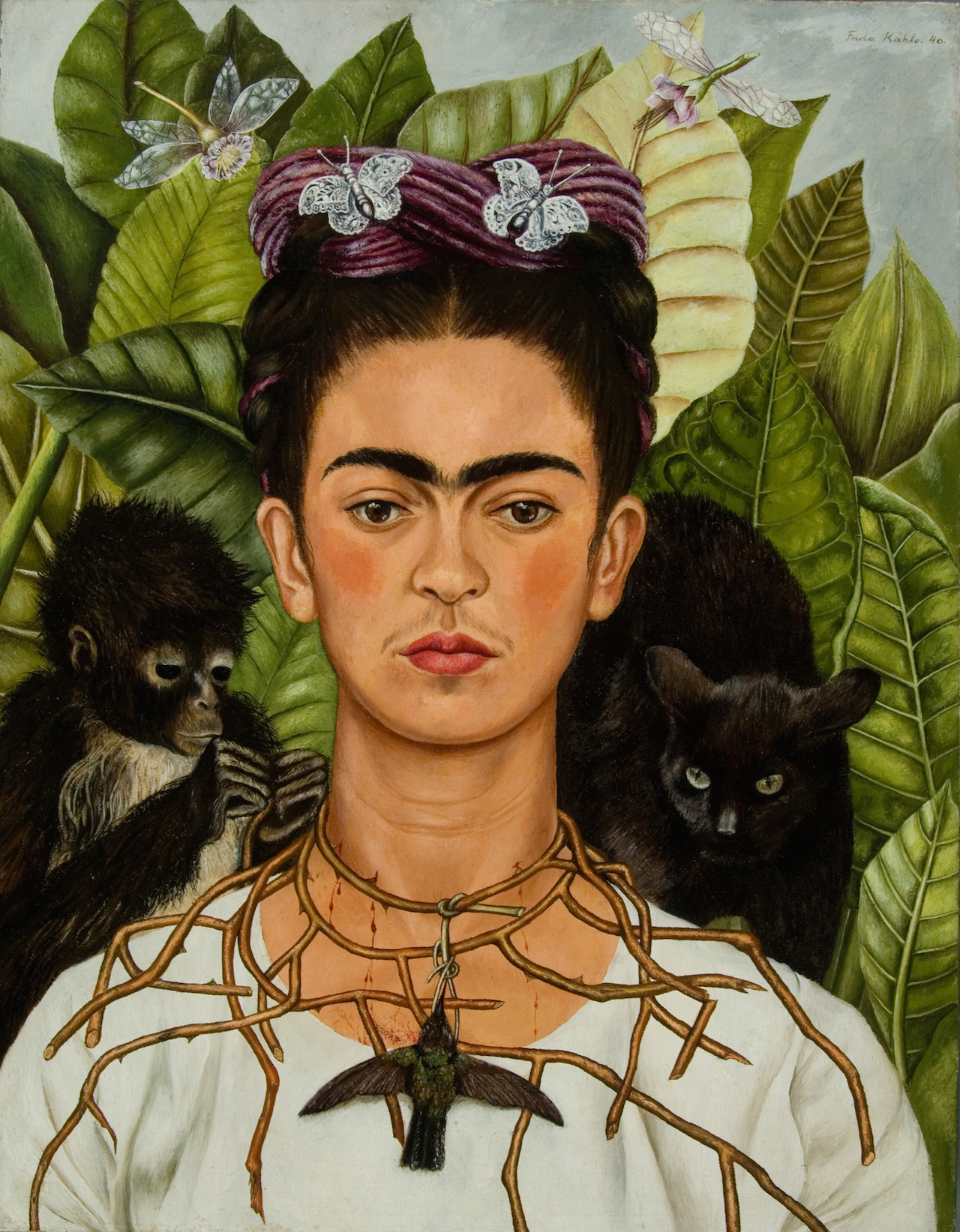 Frida   Kahlo,Self-‐Portrait   with   Thorn    Necklace   and   Hummingbird,1940Harry   Ransom    Center,   The    University   of    Texas   atAustin©   2014    Banco   de    México   Diego    Rivera   Frida    Kahlo   Museums    Trust,   Mexico,   D.F.   /   Artists   Rights   Society   (ARS),   New   YorK