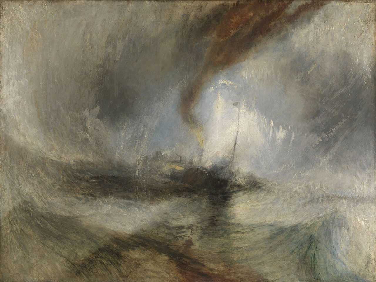 """Joseph Mallord William Turner, """"Snow Storm: Steam-Boat off a Harbour's Mouth"""" (exhibited 1842), oil on canvas, unframed: 91.4 x 121.9 cm (36 x 48 in.) (Tate: Accepted by the nation as part of the Turner Bequest 1856 Photo © Tate, London 2014) (all images courtesy Getty Museum)"""