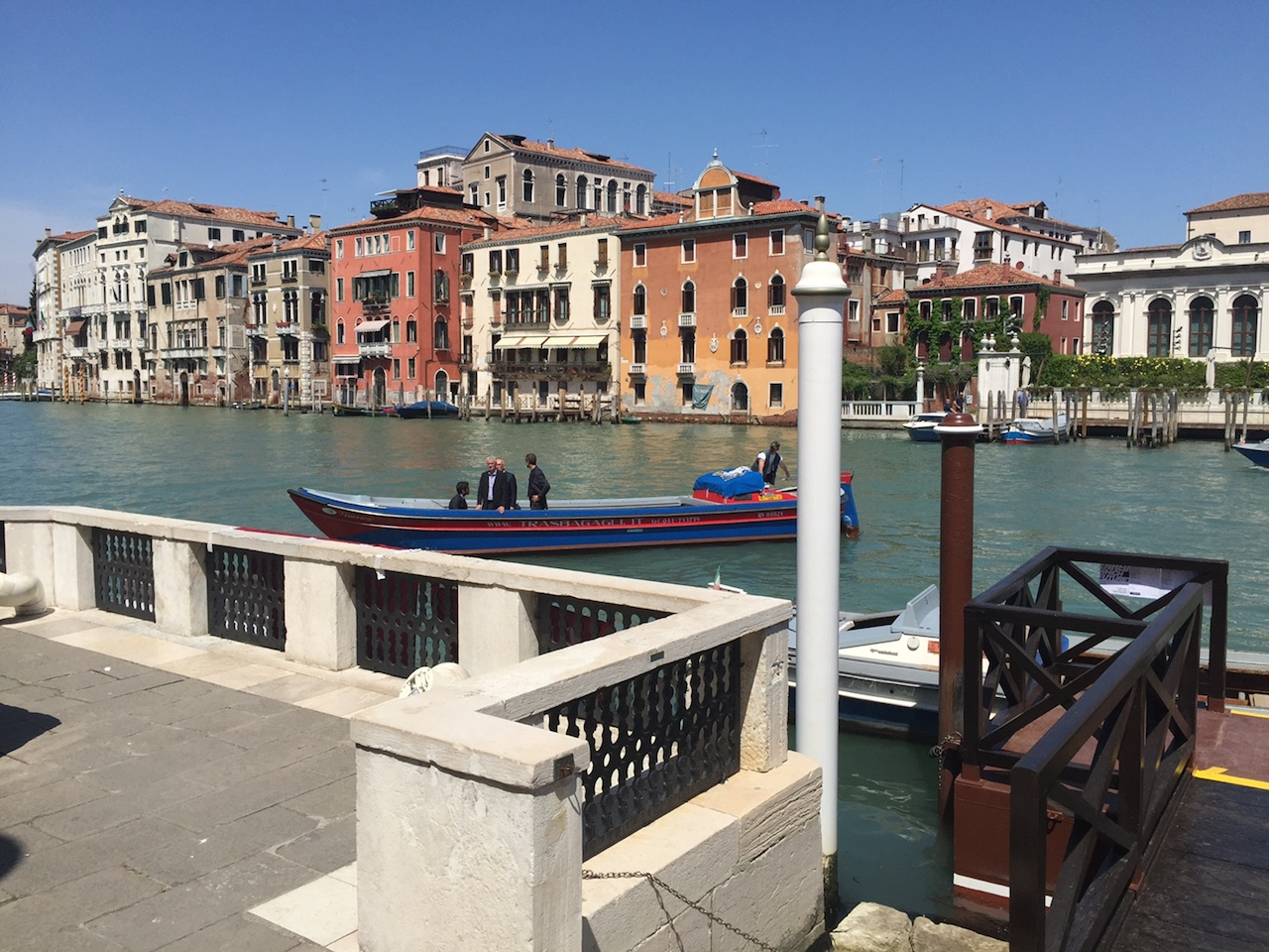 Visitors being turned away from the Peggy Guggenheim Collection's pier, which is currently occupied by protesters