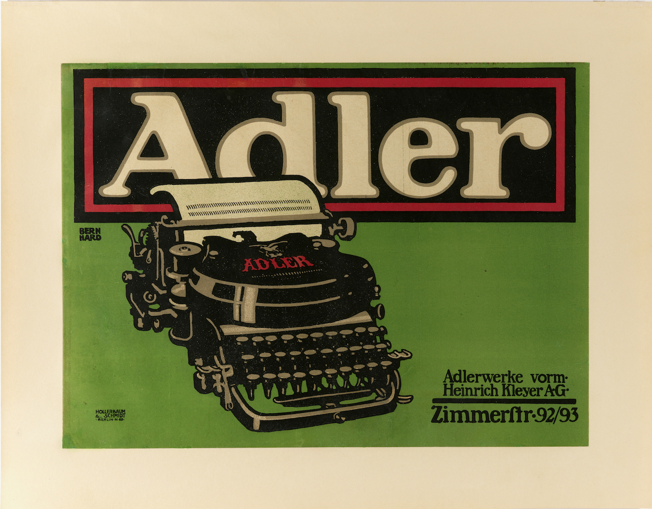 "Lucian Bernhard, for Adler, ""Adler Typewriter"" (1909-10), lithograph, 13 9/16 x 18 1/2 in. (Photo by Matt Flynn, courtesy Cooper Hewitt, Smithsonian Design Museum)"