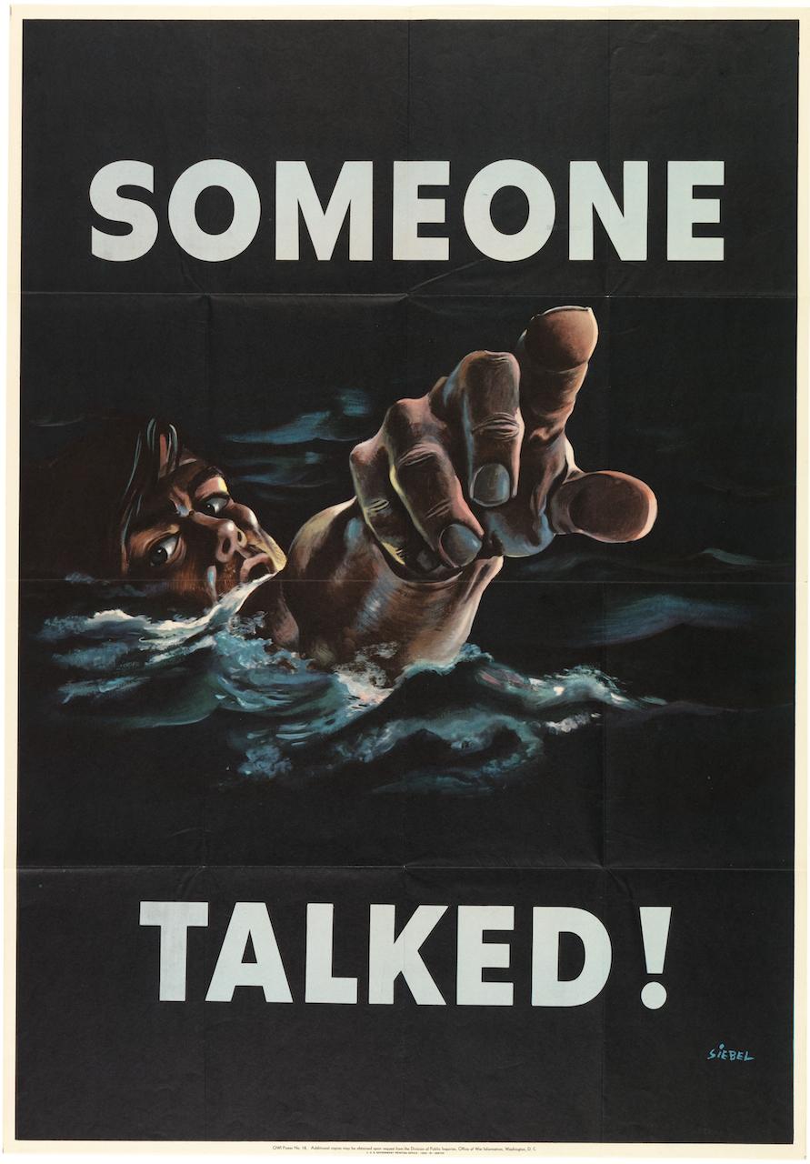 "Frederick Siebel, ""Someone Talked"" (1942), lithograph, 40 x 28 in. Photo by Matt Flynn, courtesy Cooper Hewitt, Smithsonian Design Museum)"