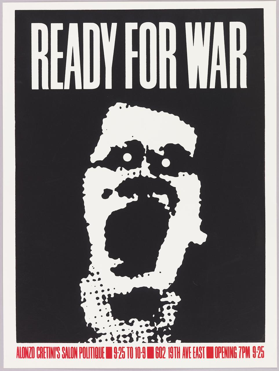 "Art Chantry, ""Ready for War"" (1982), screenprint, 24 x 17 15/16 in. (Photo by Matt Flynn, courtesy Cooper Hewitt, Smithsonian Design Museum)"