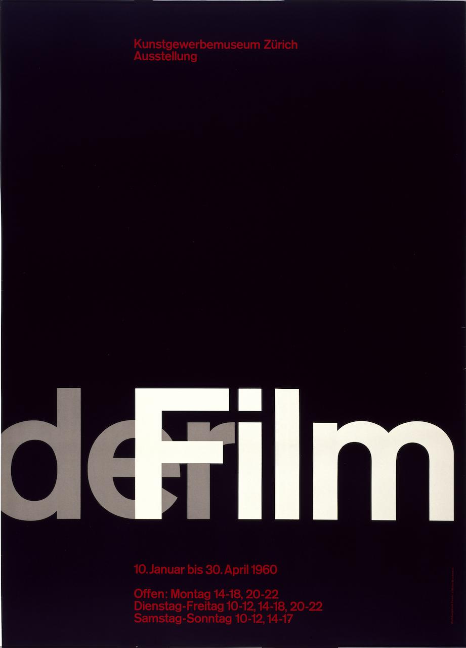 """Josef Müller-Brockmann, for Museum für Gestaltung, Zürich, """"Der Film"""" (1959-1960), offset lithograph, 50 3/8 ◊ 35 11/16 in. (Photo by Matt Flynn, courtesy Cooper Hewitt, Smithsonian Design Museum)"""