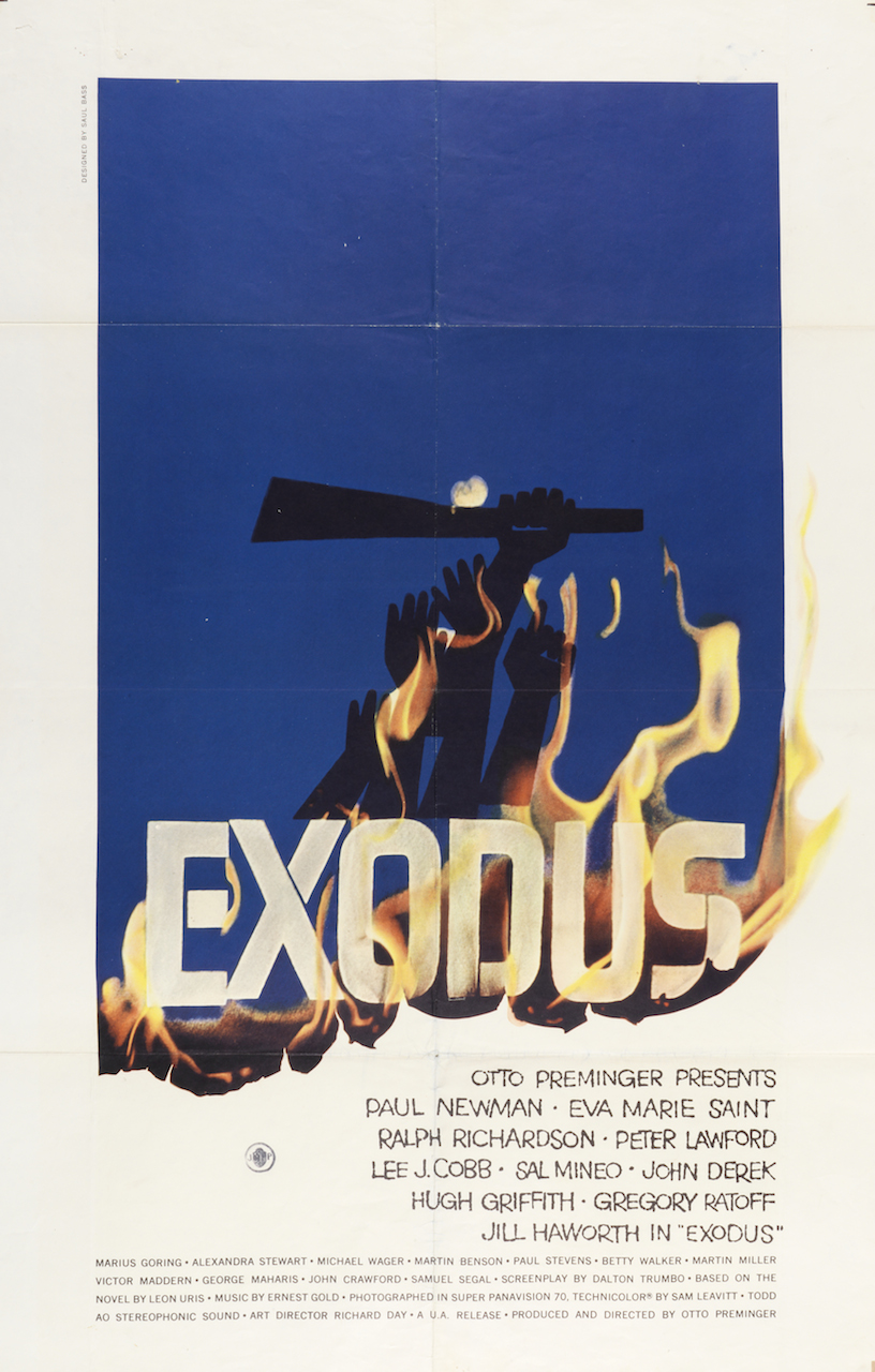 """Saul Bass, """"Exodus"""" (1961), offset lithograph, printed by National Screen Service Corporation, 40 15/16 x 26 15/16 in. (Photo by Matt Flynn, courtesy Cooper Hewitt, Smithsonian Design Museum)"""