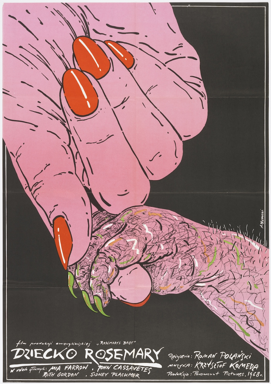 """Andrzej Pagowski, """"Dziecko Rosemary (Rosemary's Baby)"""" (1984), offset lithograph, 37 1/2 × 26 3/8 in. (Photo by Matt Flynn, courtesy Cooper Hewitt, Smithsonian Design Museum)"""