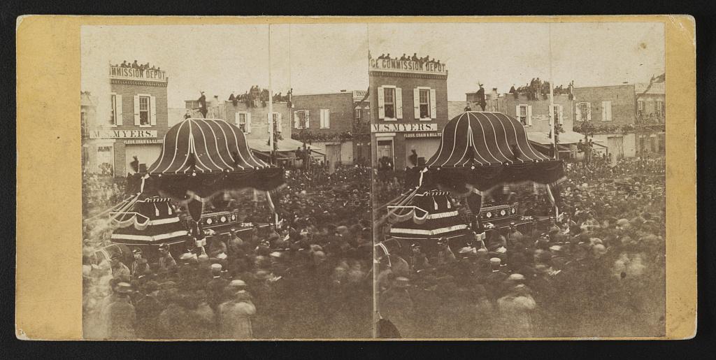 """Lincoln's Funeral,"" Philadelphia / taken by Ridgeway (i.e. Ridgway) Glover. Creator(s): Glover, Ridgway, 1831-1866, photographer Date Created/Published: [Philadelphia?] : [Schreiber & Sons?], [April 1865]"