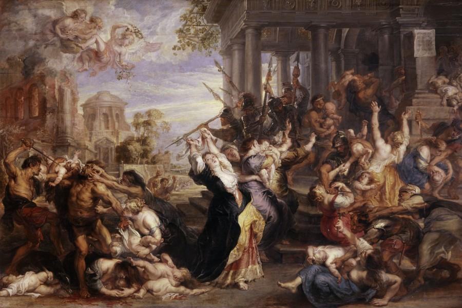 "Peter Paul Rubens, ""The Massacre of the Innocents"" (1638), oil on oak (via Alte Pinakothek)"