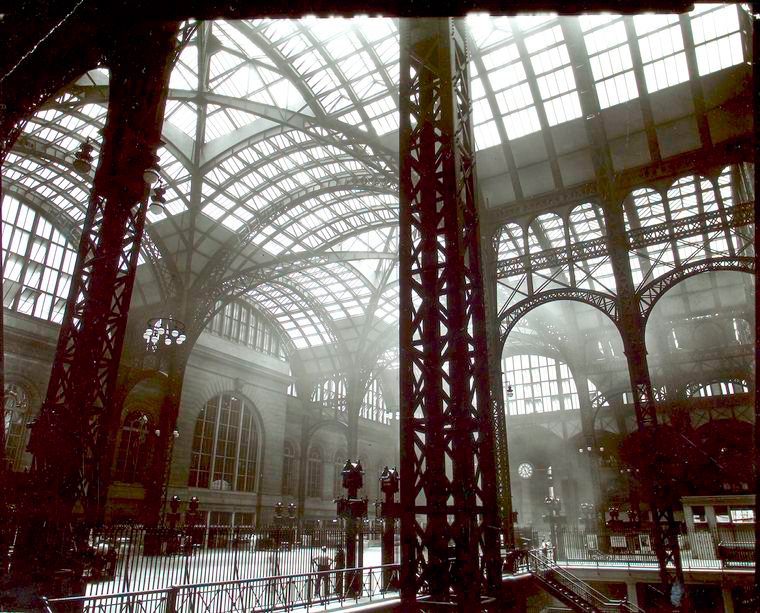 The interior of Pennsylvania Station, demolished in TK (1935-38) (photograph by Berenice Abbott, via NYPL)