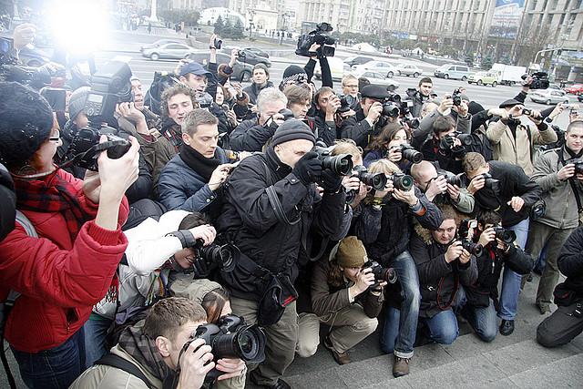 Photographers at a FEMEN demonstration (photo by Yaroslav Debelyi, via FEMEN Women's Movement/Flickr)