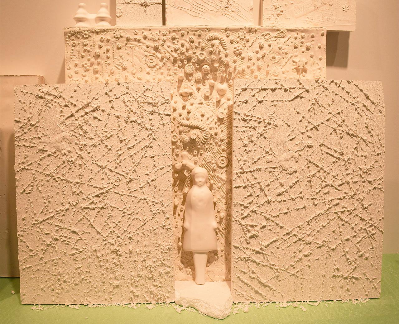 "Detail of Sara Mejia Kriendler, ""In Line for the Shrine"" (2015)"
