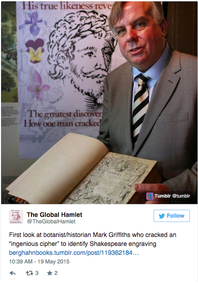 Mark Griffiths holding Gerard's book in front of a blown up image of the alleged Shakespeare portrait (Image via Twitter)