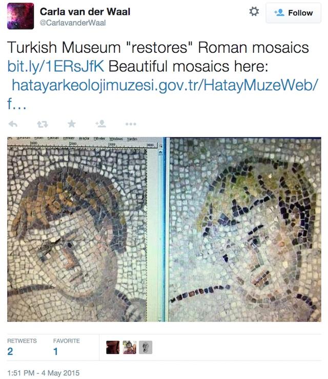 """Restored"" mosaics at the Hatay Archaeology Museum (via CarlavanderWaal/Twitter)"