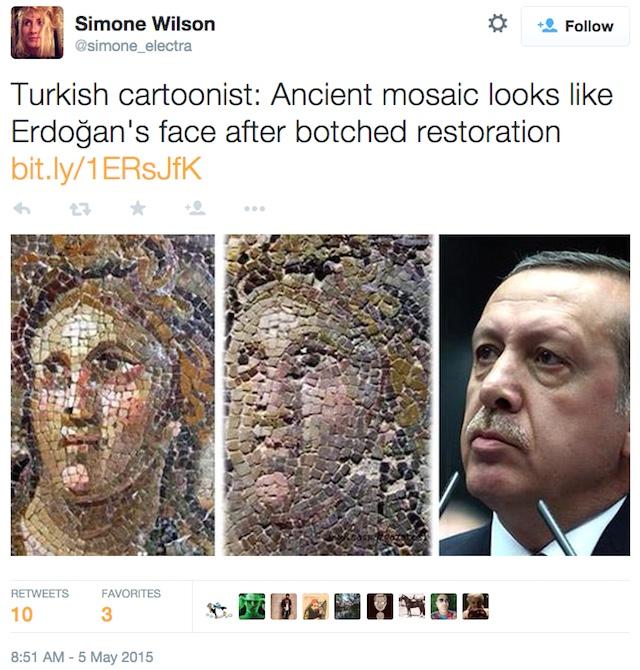 A tweet by Simone Wilson comparing one of the botched mosaics to Turkish President Recep Tayyip Erdoğan (via simone_elektra/Twitter)