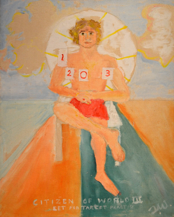 """Tennessee Williams, """"Citizen of the World III"""" (1970s), Oil on Canvas Board (courtesy Ogden Museum of Southern Art)"""
