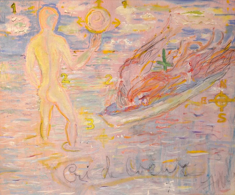 """Tennessee Williams, """"Cri de Coeur"""" (1976), Oil and Pencil on Canvas"""