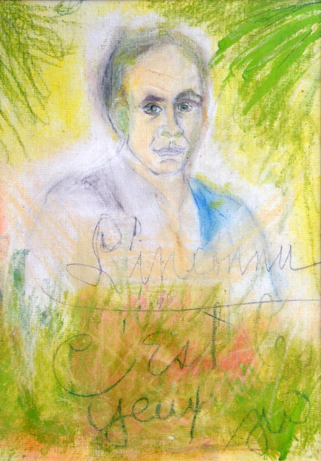 """Tennessee Williams, """"L'inconnu: C'est les Yeux"""" (1981), Pastel on Canvas Board (courtesy Ogden Museum of Southern Art)"""