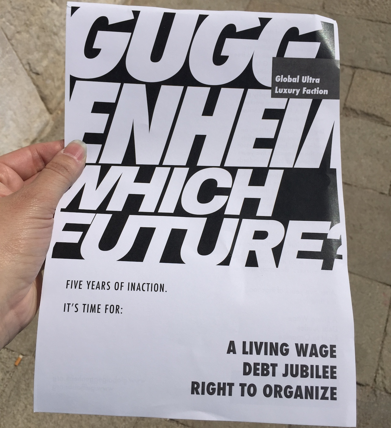 The flyer being distributed at today's protest