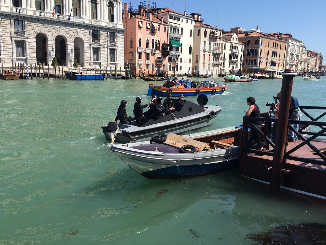 Venetian police survey the scene at Friday's protest