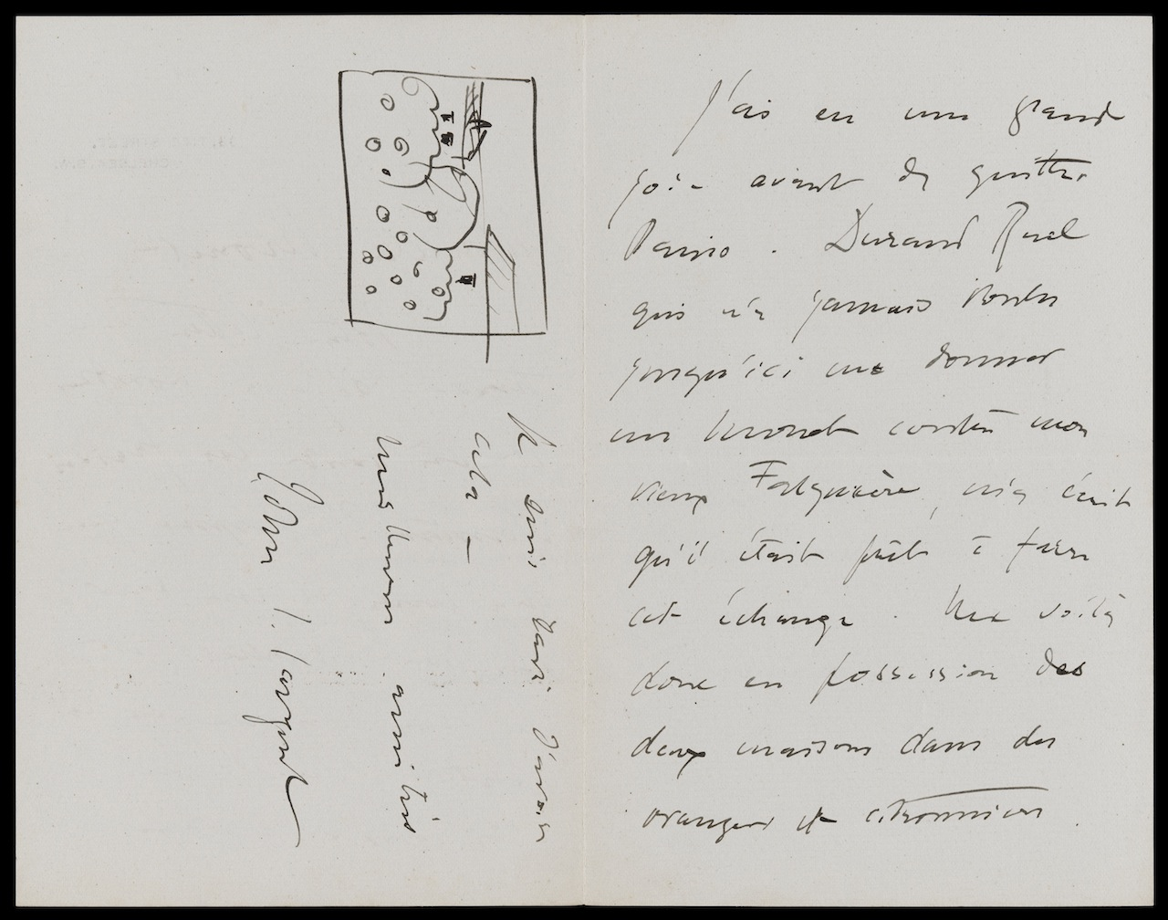 John Singer Sargent to Claude Monet, Sept 1 [1897], from 33 Tite St., London, re his acquisition of a Monet John Singer Sargent (American, 1856 – 1925) 1891  Ink on paper *Museum of Fine Arts, Boston.  The John Singer Sargent Archive—Gift of Jan and Warren Adelson *Photograph © Museum of Fine Arts, Boston