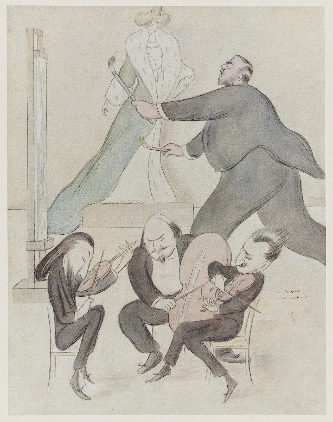 Sargent at Work Max Beerbohm (English, 1872–1956) Undated  Offset lithograph *Museum of Fine Arts, Boston.  The John Singer Sargent Archive—Gift of Jan and Warren Adelson *Photograph © Museum of Fine Arts, Boston
