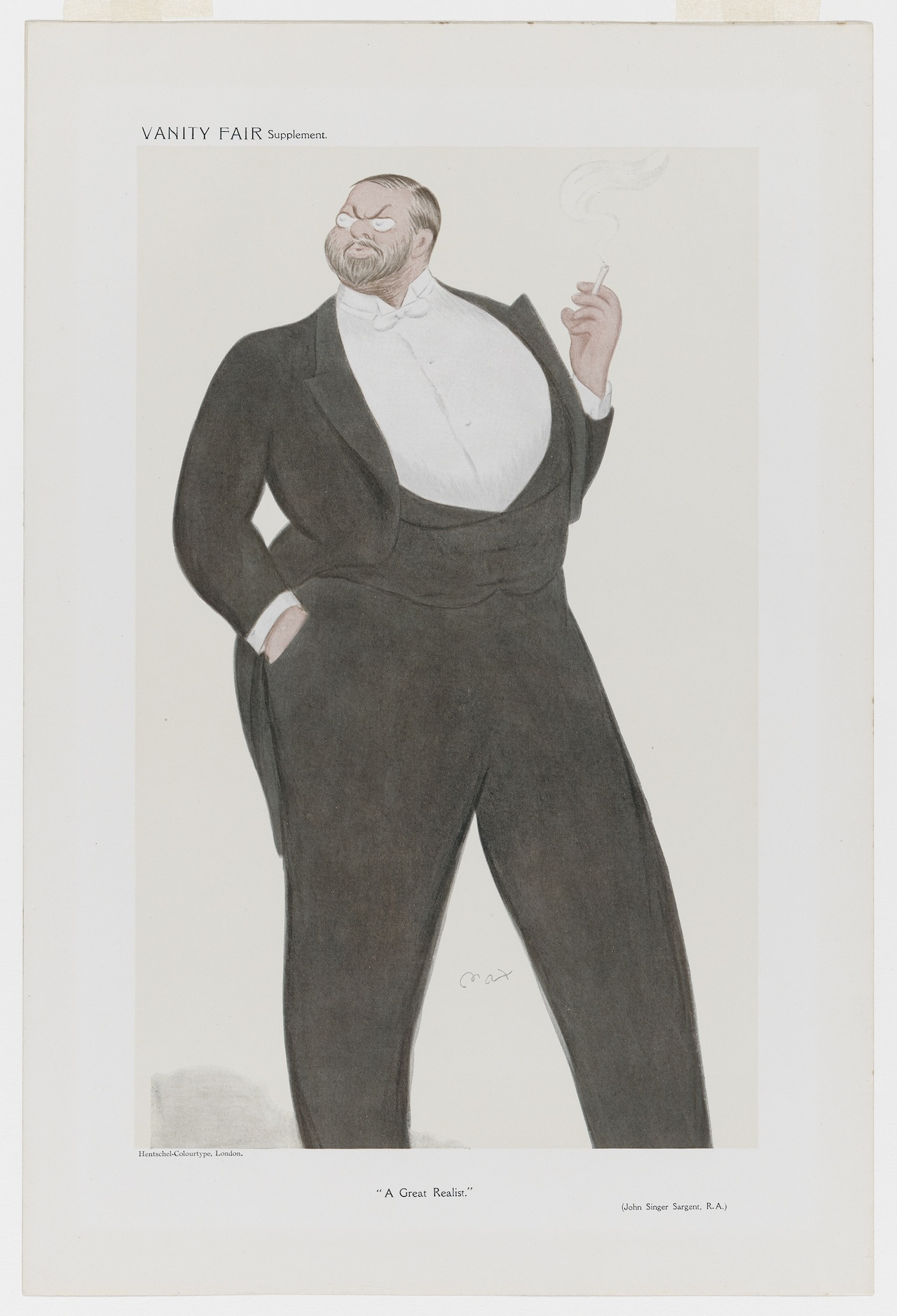 """Vanity Fair Supplement, """"A Great Realist"""" Max Beerbohm (English, 1872–1956) Undated  Lithograph *Museum of Fine Arts, Boston.  The John Singer Sargent Archive—Gift of Jan and Warren Adelson *Photograph © Museum of Fine Arts, Boston"""
