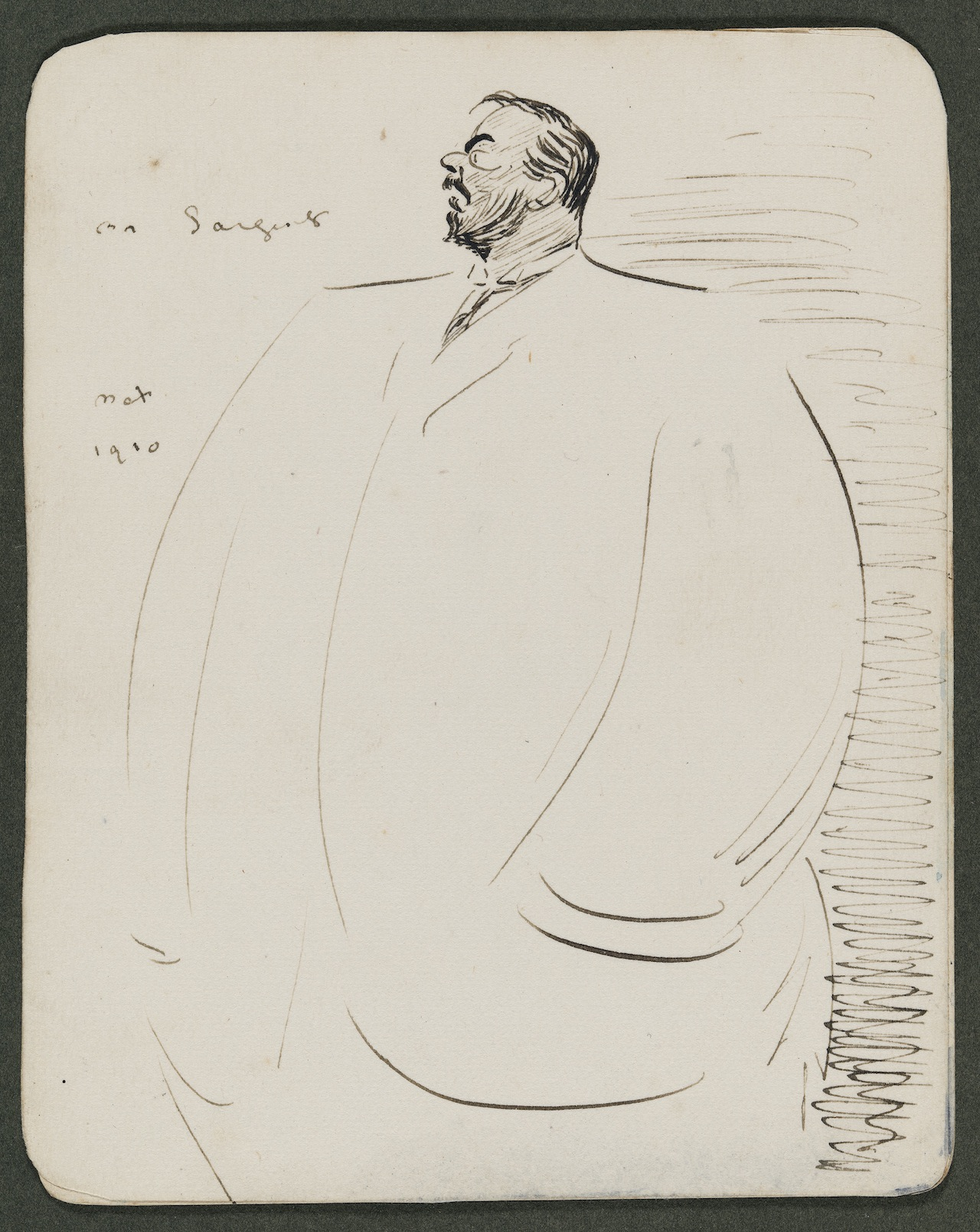 Sketch of John S. Sargent Max Beerbohm (English, 1872–1956) Undated  Ink on paper *Museum of Fine Arts, Boston.  The John Singer Sargent Archive—Gift of Jan and Warren Adelson *Photograph © Museum of Fine Arts, Boston