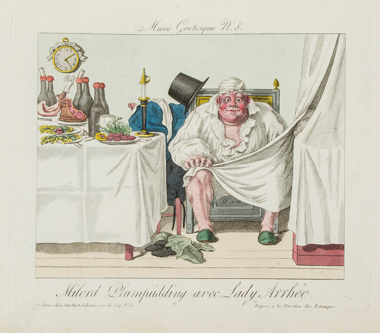 Godissart de Cari, plate from 'Musée Grotesque' (c.1820), hand-colored etching (click to enlarge)
