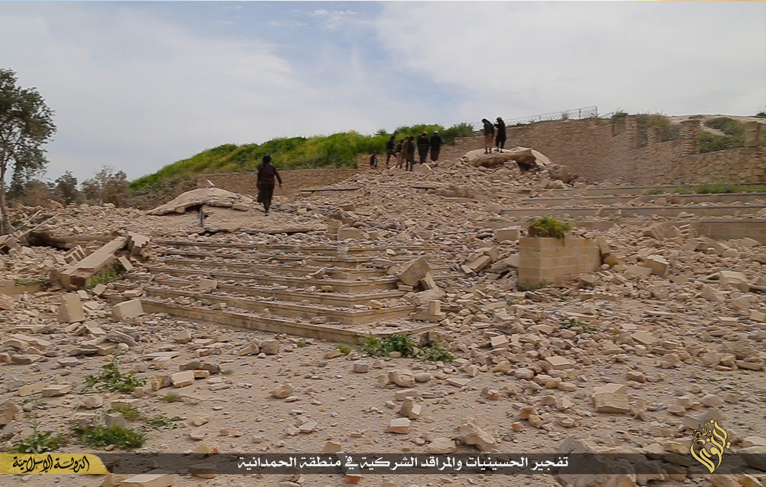 Still photo of the destroyed shrine released by ISIS in March 2015.