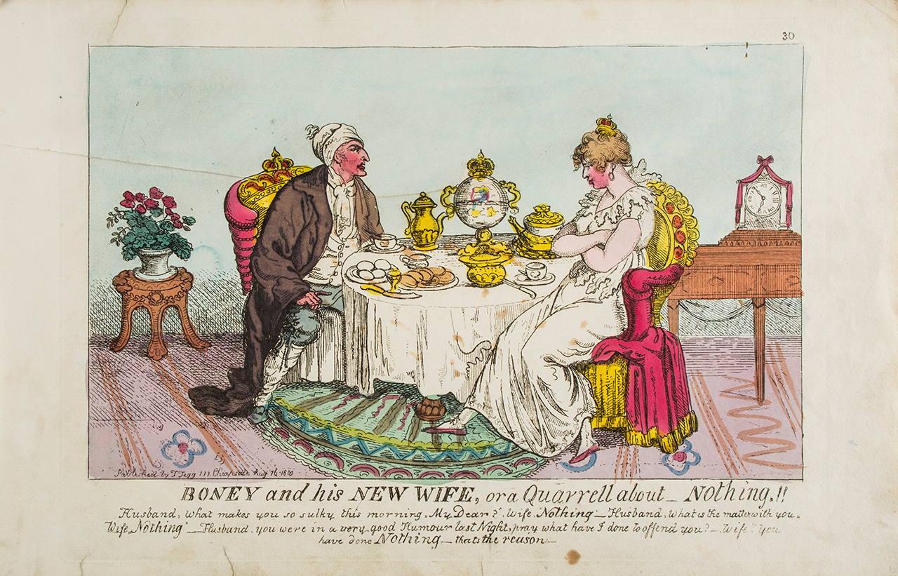 """Anonymous satire on Napoleon's marriage to Marie Louise of Austria, """"Boney and his New Wife, or a Quarrell about _ Nothing!!"""" (1810) (click to enlarge)"""