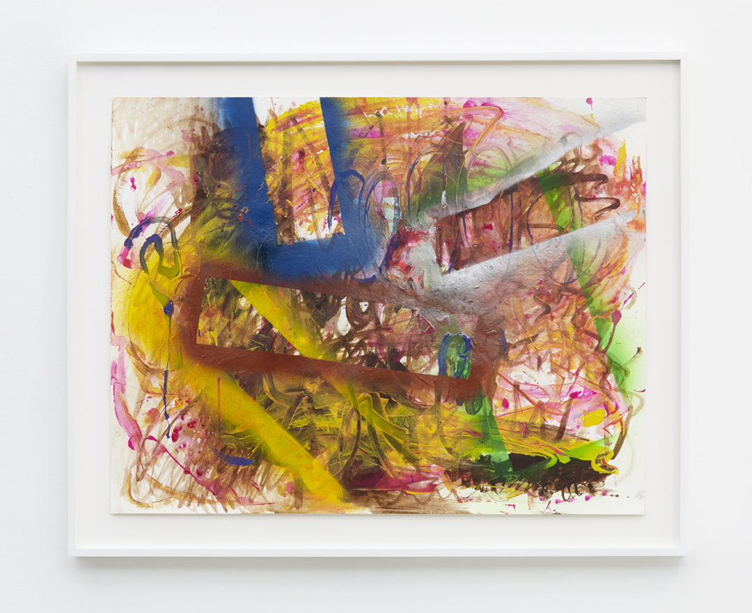 """Verena Dengler, """"American Painting"""" (2015), Mixed media and spray paint on paper, 19 1/2 x 25 1/8 inches (50 x 64 cm) - paper size, 23 5/8 x 29 1/4 inches (60 x 74.3 cm) - frame size"""
