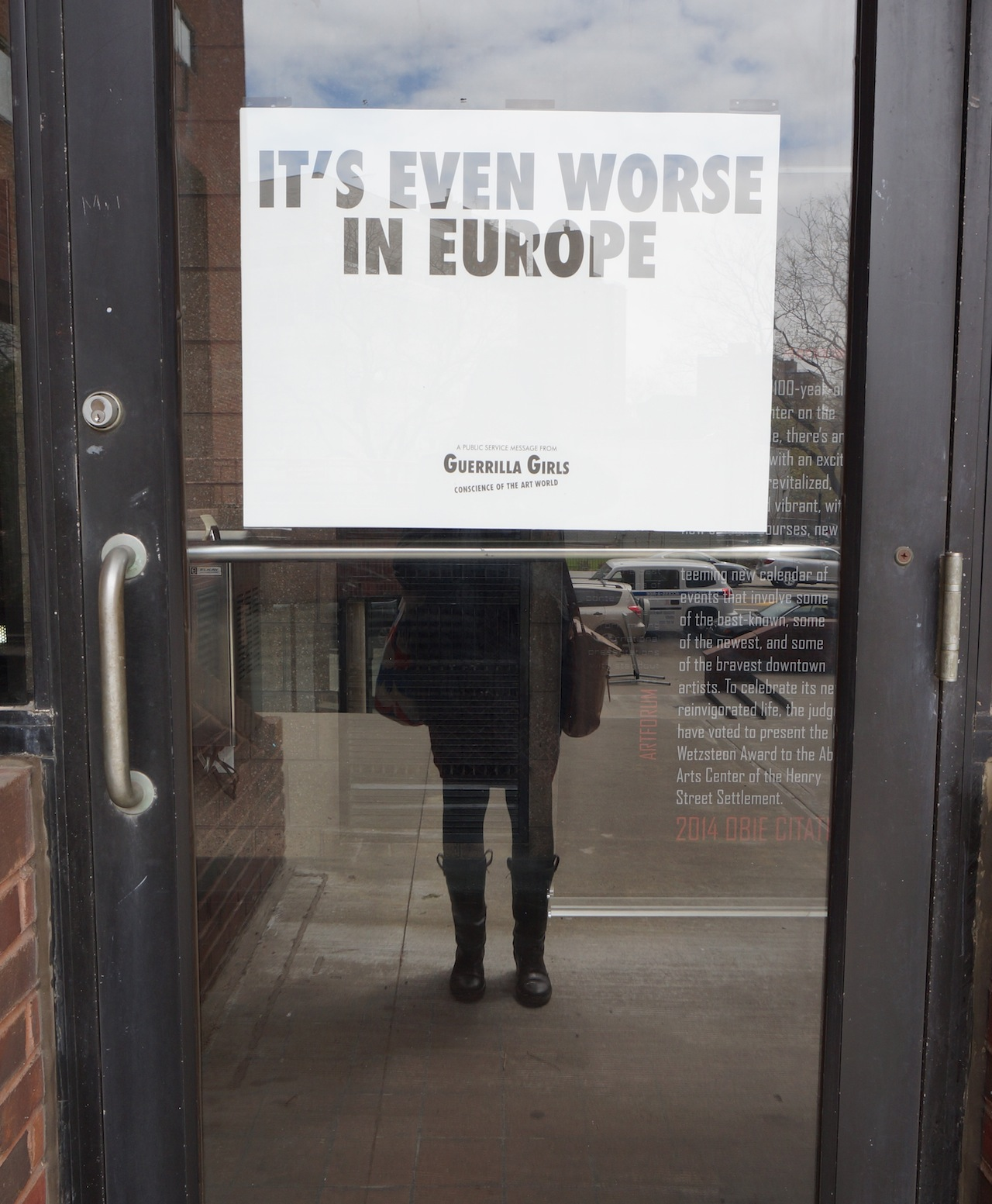 A Guerrilla Girls poster at Abrons Arts Center in April, claiming that sexism is worse in the European art world (photo by the author for Hyperallergic)