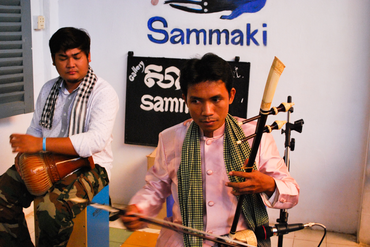 Yorn Young and Sastra Keo performing at Sammaki's four year anniversary party.